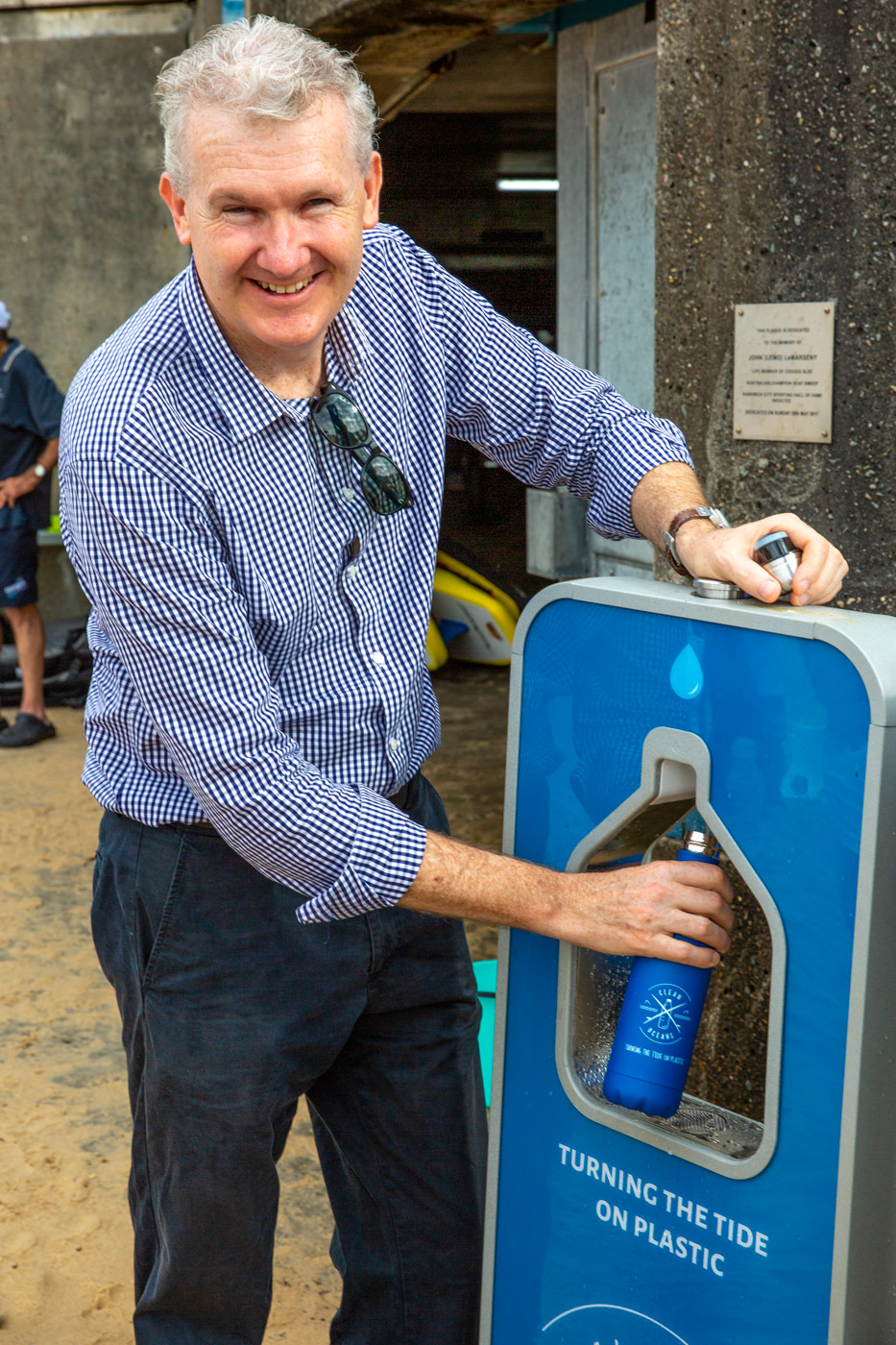 Tony Burke using a Clean Oceans filtered water system
